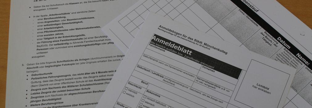 Städtisches Münchenkolleg: Anmeldeformular (Bild)
